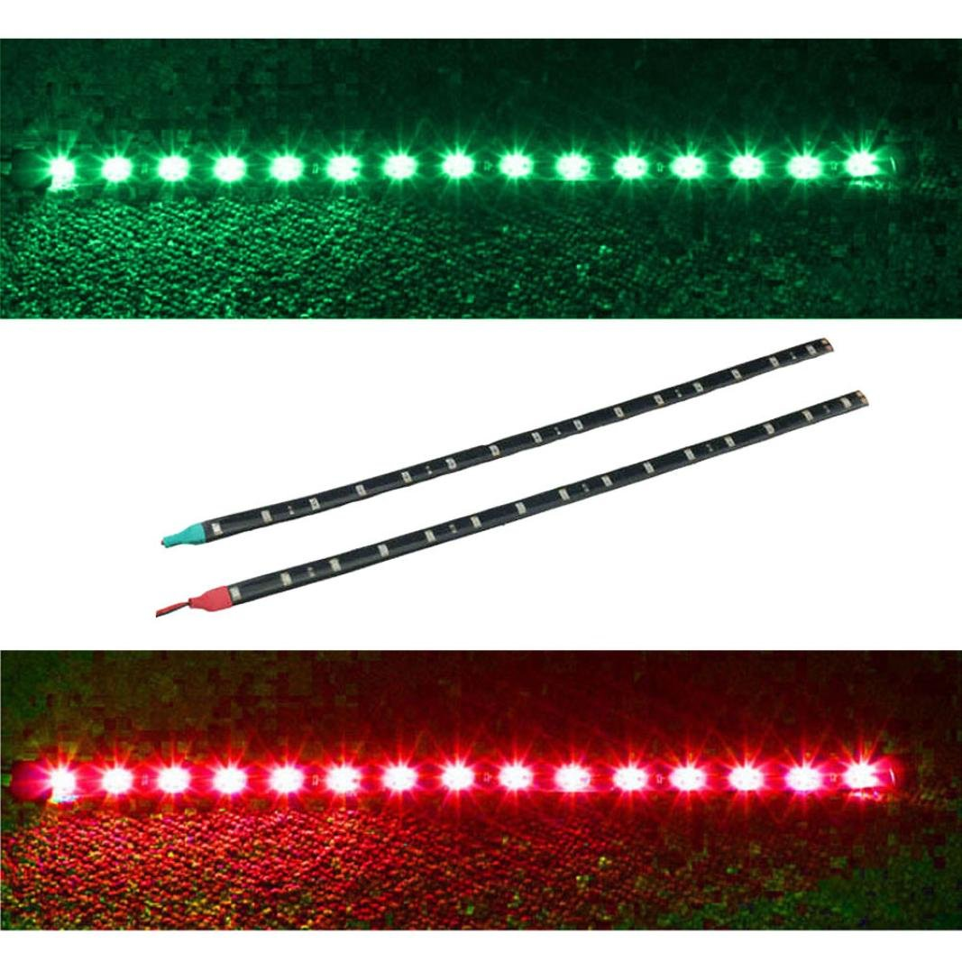 Chezaa LED Strips,2x Boat Navigation LED Lighting RED & GREEN Waterproof Marine LED Strips for Cars (Green,Red)