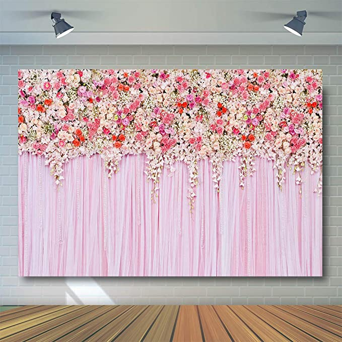 9x9ft Background Pink Flowers Photography Backdrop Floral Art Studio Props Birthday Photo Banner