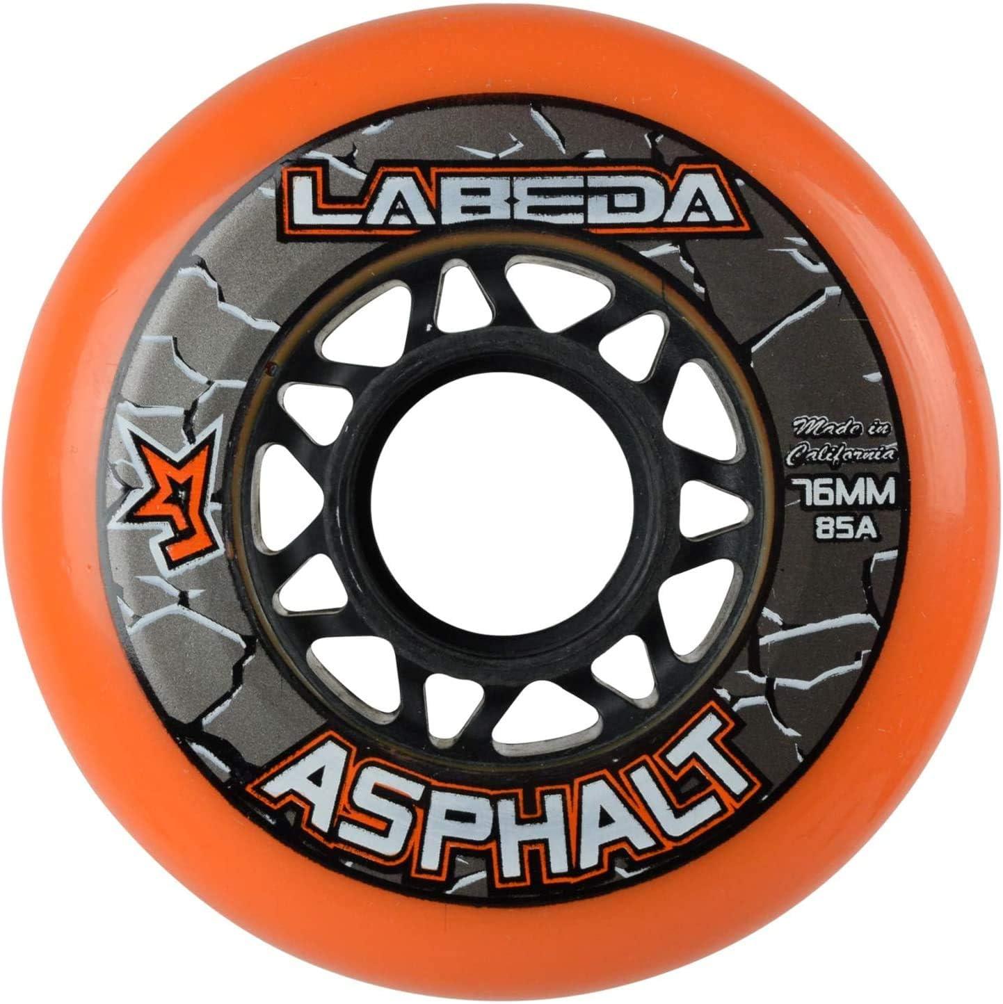 76mm w//Dragon Bearings Labeda Asphalt Outdoor Inline Hockey Wheels