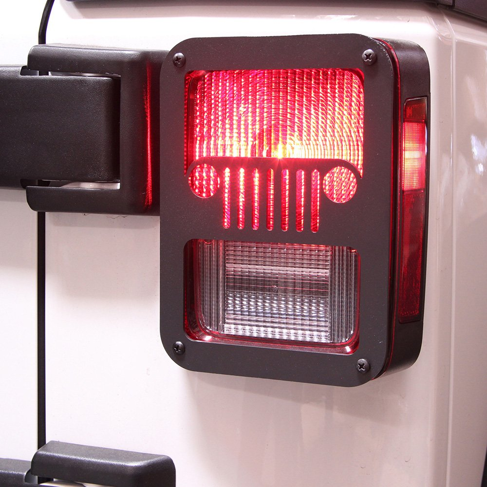 Xprite 2007-2018 Jeep Wrangler JK Unlimited Black Light Guard'' JEEP FRONT GRILL'' For Rear Taillights ( Tail Light ) Cover - Pair