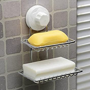 WRMR Double Layer Soap Dish Holder For Shower Or Bath   Bar Soap Lasts  Longer In