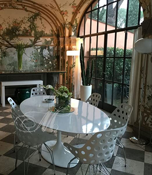 Meubles & Design Lot 4 sillas Estilo Tulip-Flower + Mesa mármol ...