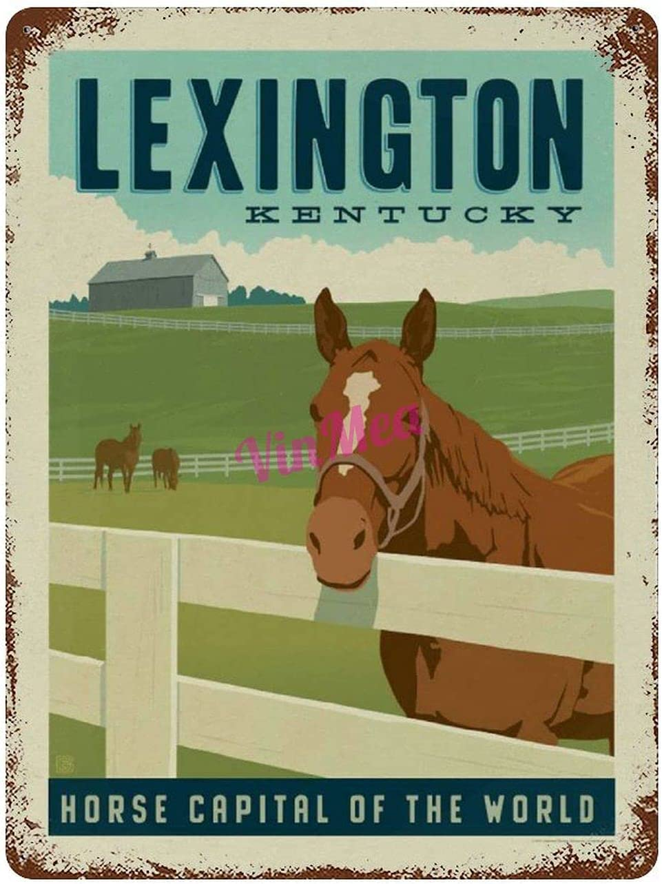 Vintage Iron Painting Lexington, KY Horse Capital of The World Retro Metal Signs Poster Wall Decor for Bar Cafe Home Garage 12×8 inches