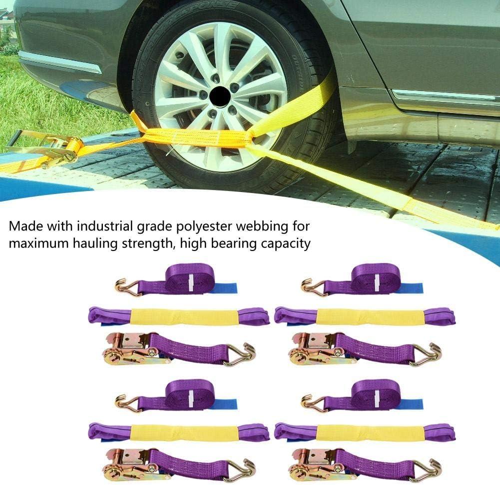 Sangles /à cliquet 4m x 50mm Sangles de roue professionnelles pour transporteur de voiture 5000kgs//11023lb Sangles darrimage robustes /à cliquet avec crochets, remorque v/éhicule de r/écup/ération