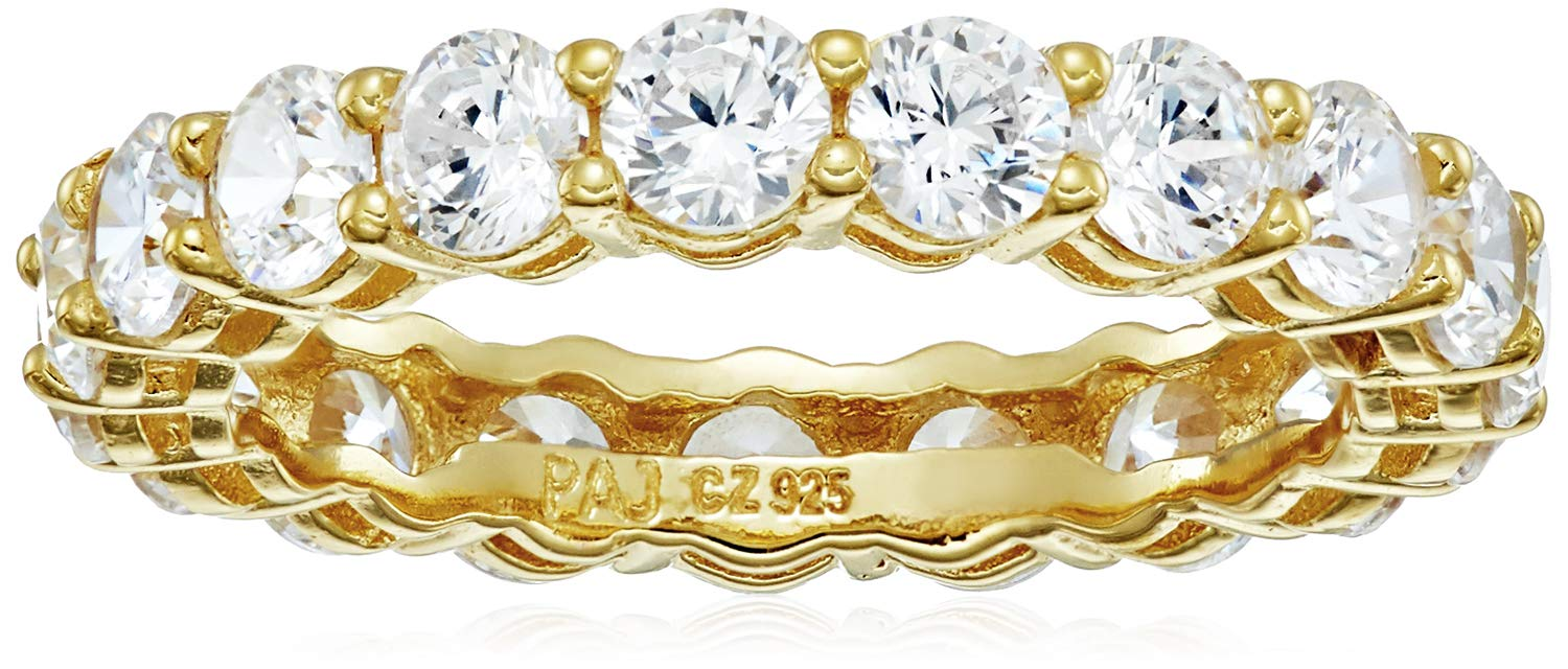 18k Yellow Gold Plated Sterling Silver Round Cubic Zirconia Eternity Band Ring (3.5 mm), Size 7