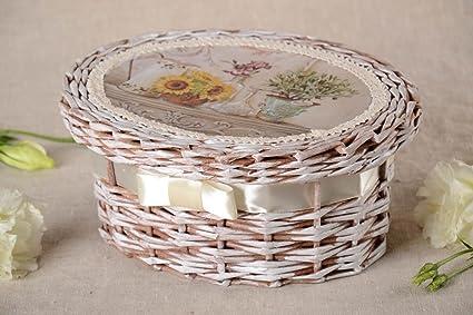Caja decorada de mimbre de papel artesanal elemento ...