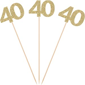 Pack of 10 Gold Glitter 40th Birthday Centerpiece Sticks Number 40 Table Topper Anniversary Pary Decorations
