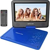 DBPOWER 9.5-Inch Portable DVD Player with Rechargeable Battery, SD Card Slot and USB Port - Blue