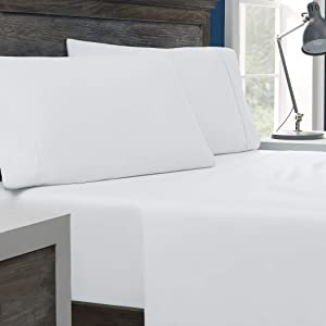 Columbia Tencel + Cotton Performance Sheet Set – Omni-Wick Moisture Wicking Stay Dry Technology – Naturally Soft, Cool, Breathable Temperature Regulating - King 4-Piece Sheet Set, White