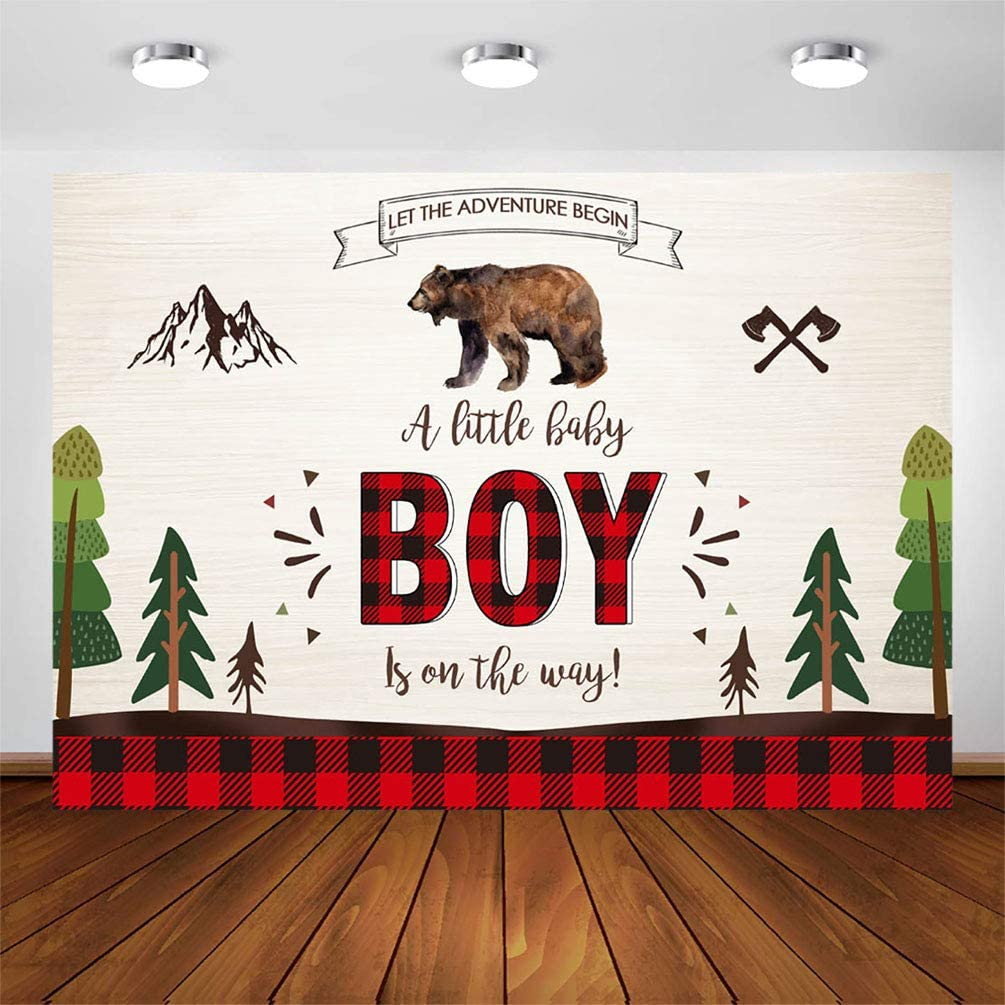 COMOPHOTO Lumberjack Baby Shower Backdrop 7x5ft Adventure Woodland Brown Bear Buffalo Plaid Lumberjack Party Decorations Photography Background for Photo Booth Banner