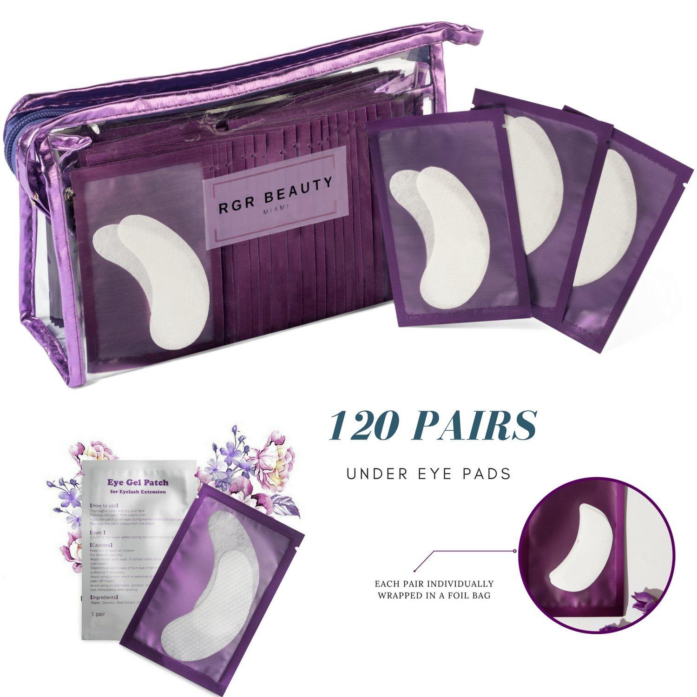 120 Pairs Eyelash Extension Pads Hydrogel Eye Mask Lint-Free Lash Extension Pads Gel Eye Pads with Transparent Cosmetic Storage Bag