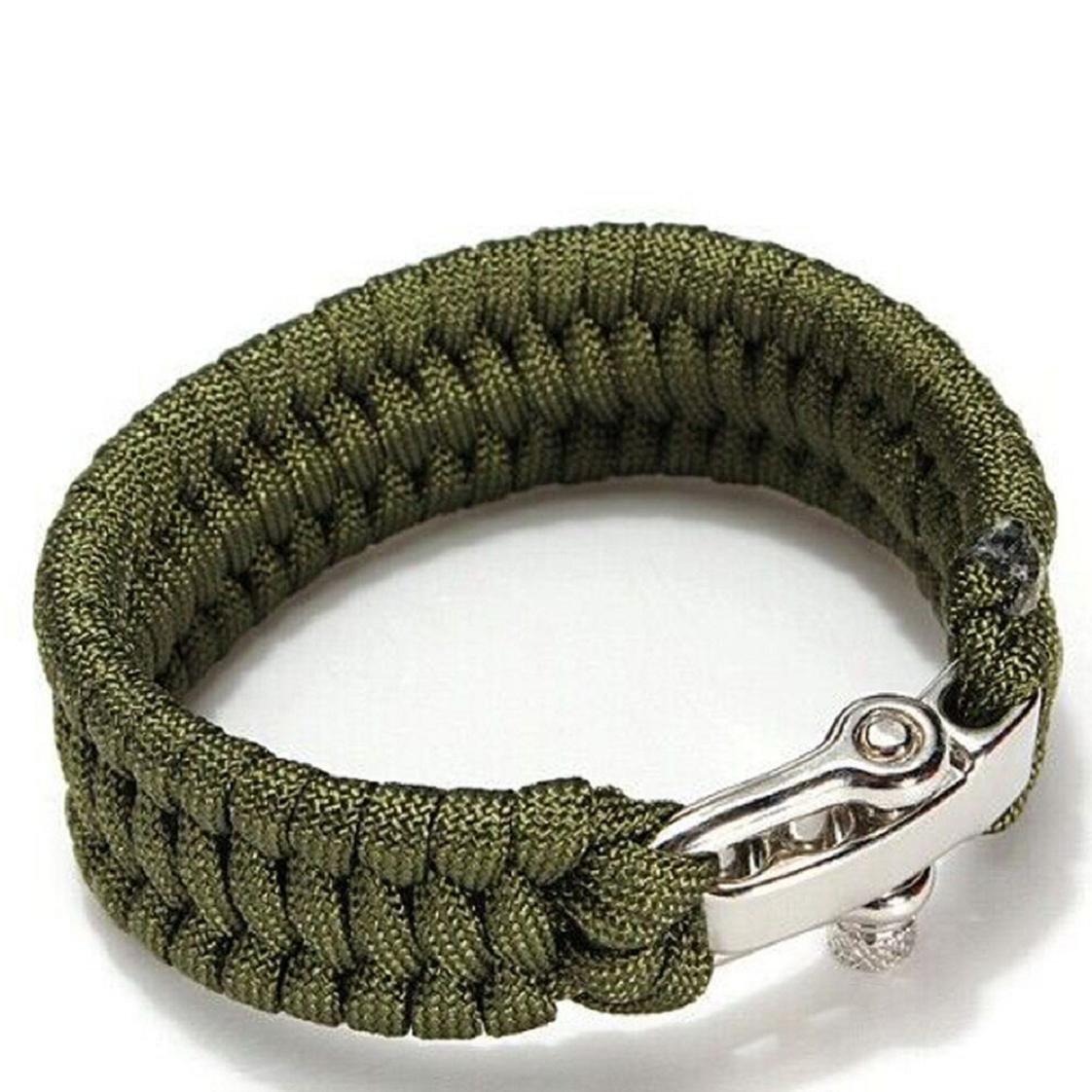 Survival Rope Bracelet Outdoor Camping Hiking Steel Shackle Buckle New