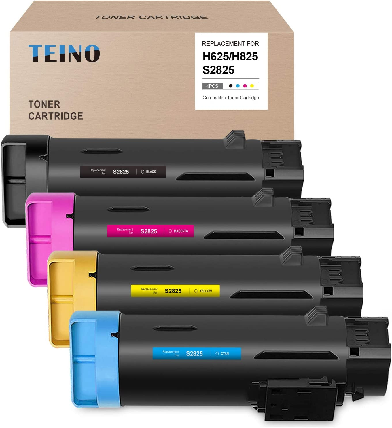 TEINO Compatible High Yield Toner Cartridge Replacement for Dell H625 H825 S2825 H625cdw H825cdw S2825cdn (Black, Cyan, Magenta, Yellow, 4-Pack)