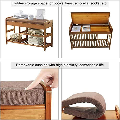 C AHOME Shoe Rack Bench, Entryway 3-Tier Shoe Organizer, Max Load 270 LBS, Bamboo Storage Shelf with Cushion for Boots, Modern Stool for Bedroom Living Room, 31.5 L x 11.6 W x 19.3 H Amber Brown