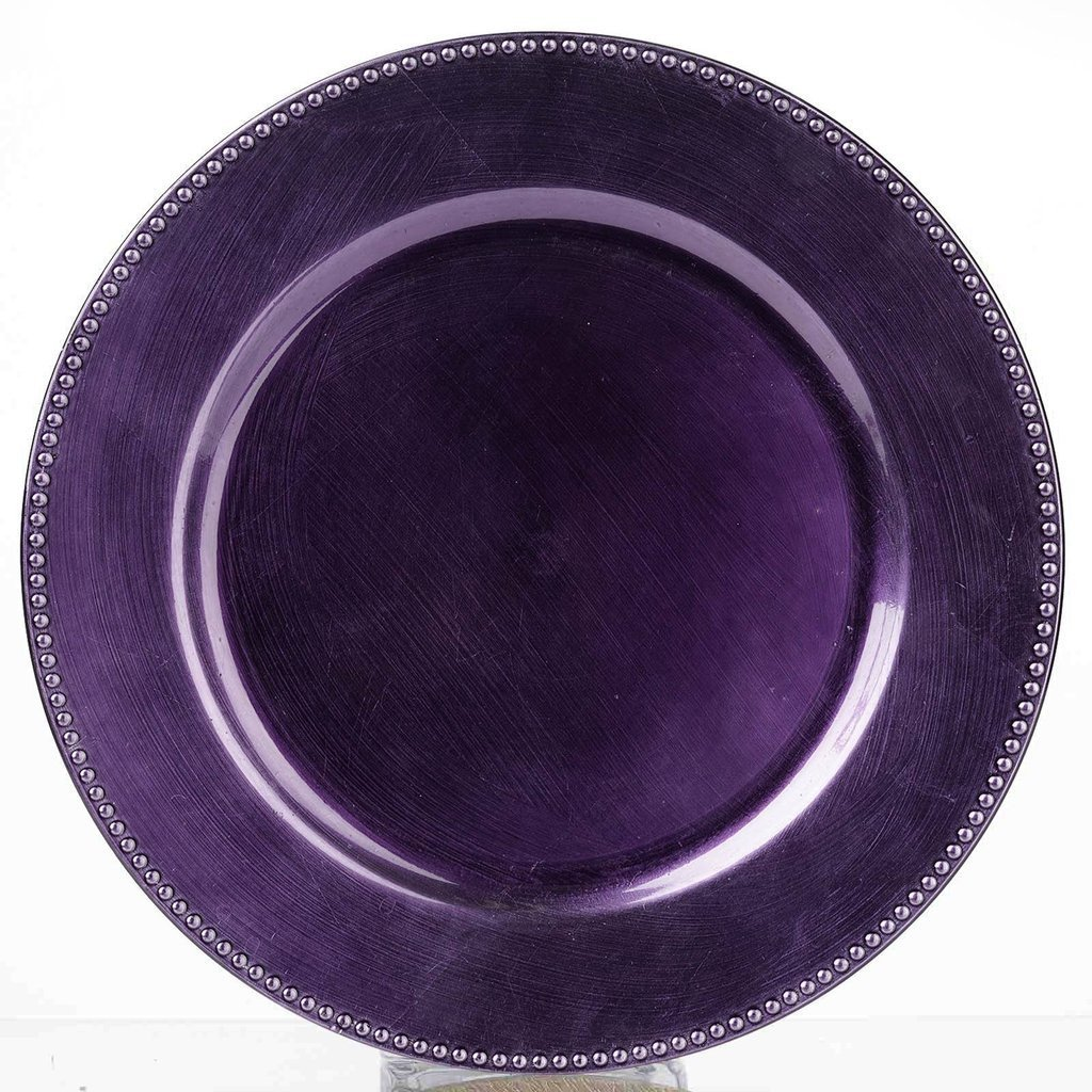 Tableclothsfactory 6 pcs 13 Purple Beaded Round Charger Plates for Tabletop Decor