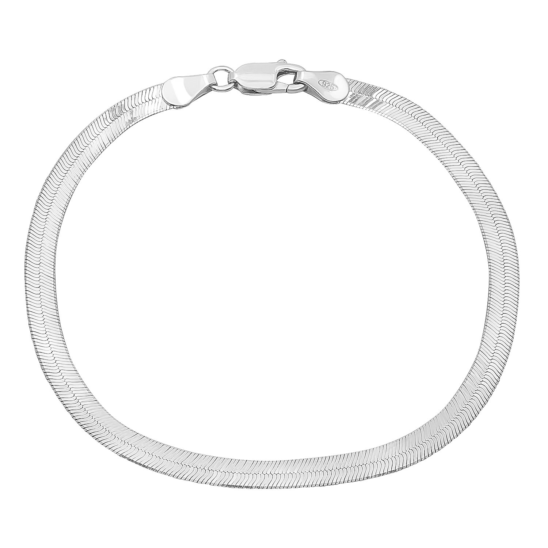 4.5mm Real 925 Sterling Silver Nickel-Free Herringbone Bracelet, 7'' - Made in Italy + Cleaning Cloth