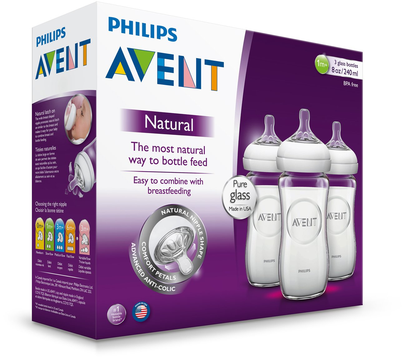 Pack of 3 8 Ounce by Philips AVENT Philips AVENT Natural Glass Bottle