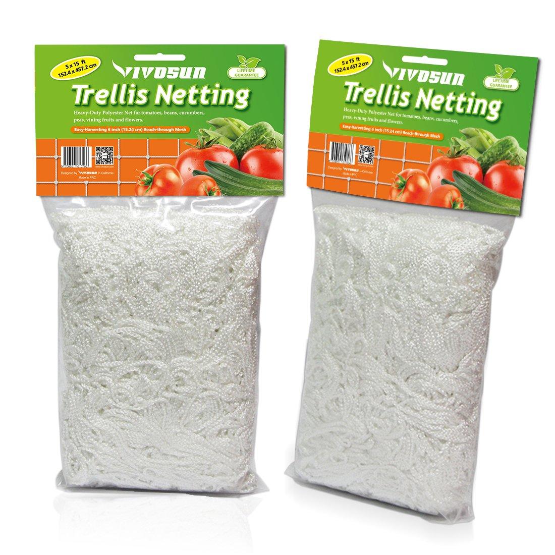 VIVOSUN Heavy-Duty Polyester Plant Trellis Netting 5 x 15ft 2 Pack