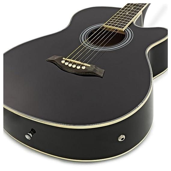 Guitarra Electroacústica Single Cutaway - Negro: Amazon.es: Instrumentos musicales