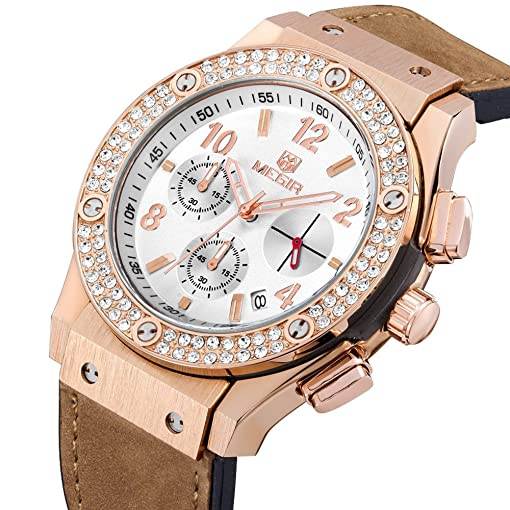 Relojes De Mujer Moda 2018 Women Quartz Rose Gold Diamond Crystal Chronograph Watch Fashion Luxury Relogio
