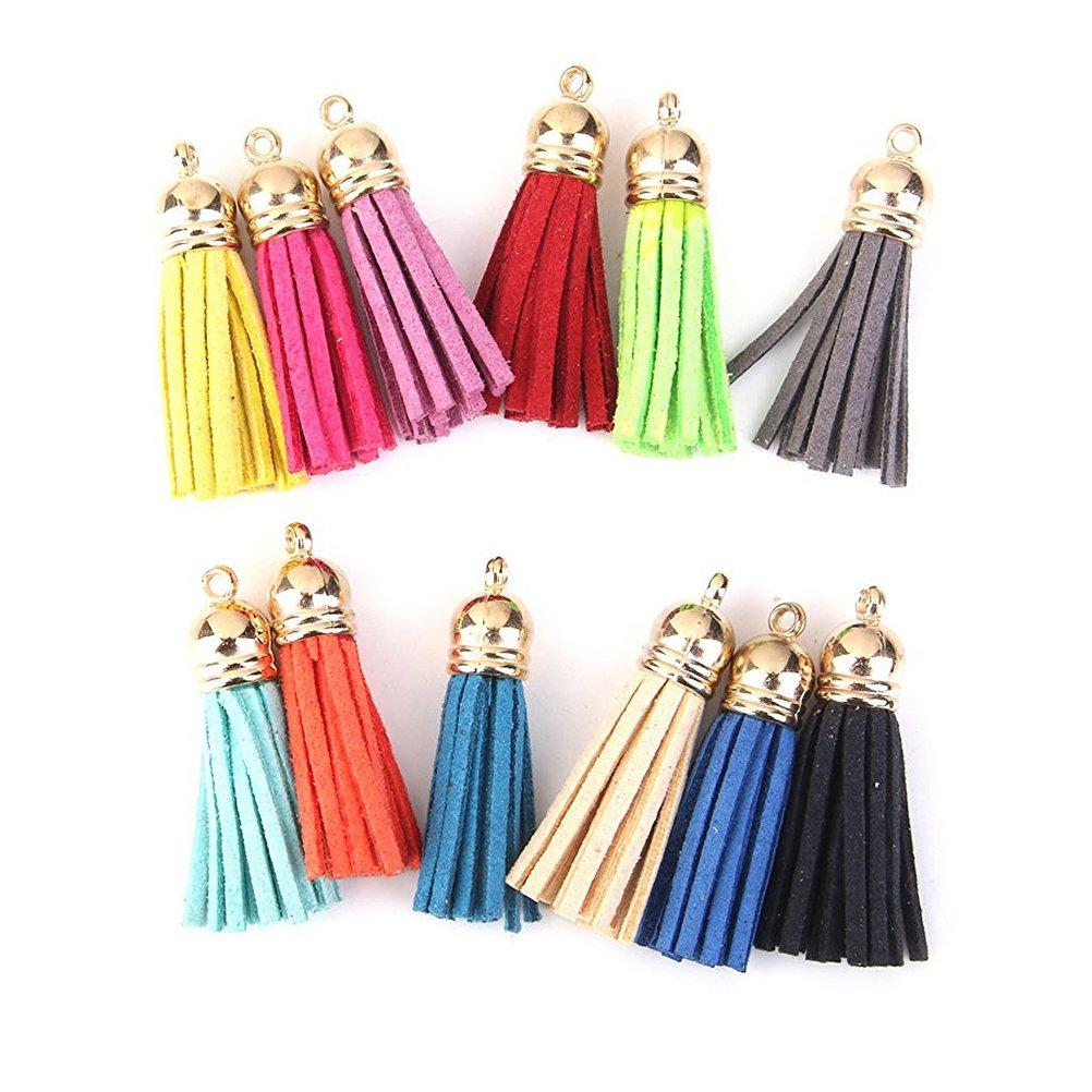 ULTNICE 12pcs nappa Charms velluto nappa Ciondolo perline nappe colorate per borsa Bag portachiavi