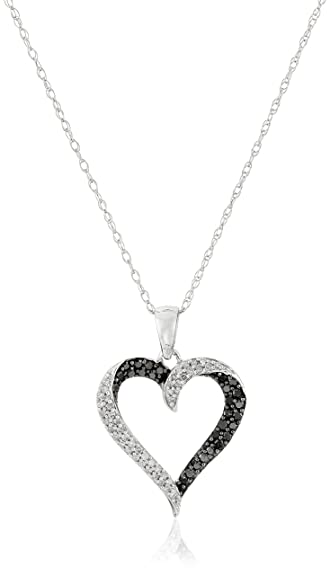 Amazon 10k white gold black white diamond heart pendant 10k white gold black white diamond heart pendant necklace 13 cttw aloadofball Choice Image