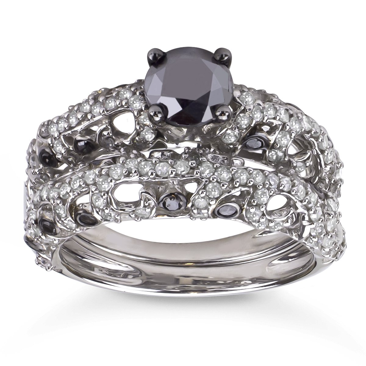 Sterling Silver 2CTTW Black and White Diamond Bridal Ring Set