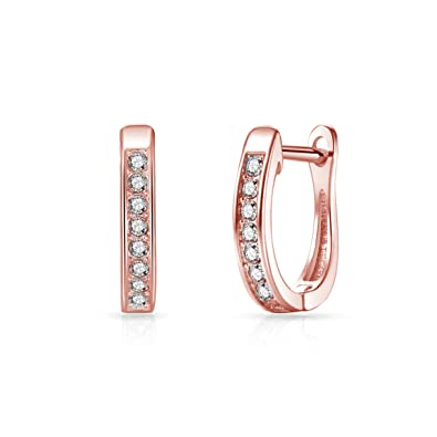 38aa98bef Rose Gold Channel Set Hoop Earrings with Crystals from Swarovski: Amazon.co. uk: Jewellery