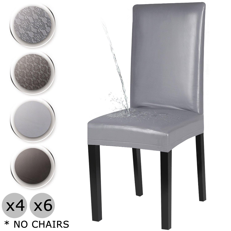 YISUN Coperture della sedia da pranzo, copertura di protezione della sedia da pranzo lavabile rimovibile elasticizzata in pelle PU (Grigio/Floreale, 4 pezzi)