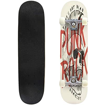 Classic Concave Skateboard Punk Rock Skull Print Punk is not Dead Anarchy Poster Longboard Maple Deck Extreme Sports and Outdoors Double Kick Trick for Beginners and Professionals : Sports & Outdoors
