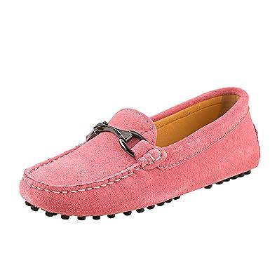 4e727c4649 Shenduo Damen Mokassins mit Metallschnallen Leder Schuhe Casual Slipper  Sommer Schuhe D7062 Pink 36