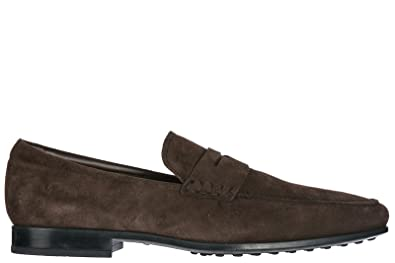 Tods Mens Suede Loafers Moccasins Rubber SOTTILE QO Brown US Size 7 XXM0QO000100P0S807