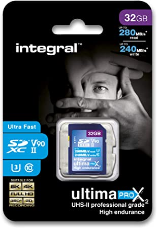 TALLA 32 gb. Integral INSDH32G-280/240U2 32GB SDHC UHS-II Memoria Flash - Tarjeta de Memoria (32 GB, SDHC, UHS-II, 280 MB/s)