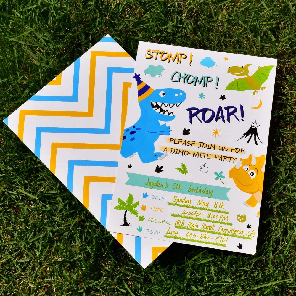 WERNNSAI Dinosaur Birthday Invitations 20 Pieces Fill-in Invitation Cards with 20 Pieces Envelopes Dinosaur Party Supplies for Boys Birthday Baby Shower