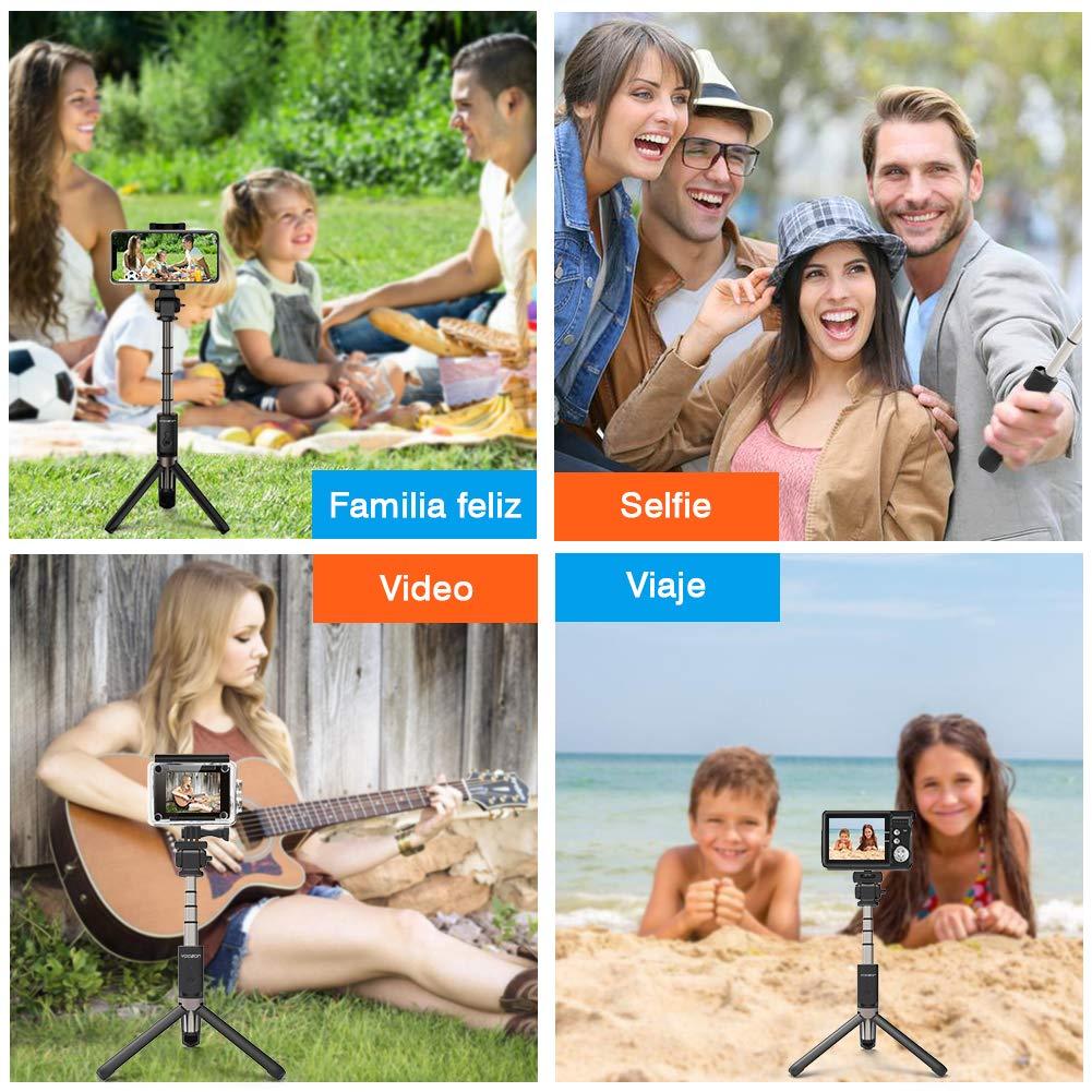 C/ámara de acci/ón y tel/éfonos Inteligentes. C/ámara Gopro Control de Remoto 3 en 1 Rotaci/ón 360 Grados para Viaje Autofoto Yoozon Palo Autofoto Tr/ípode Palo Selfie Bluetooth Inal/ámbrico Port/átil