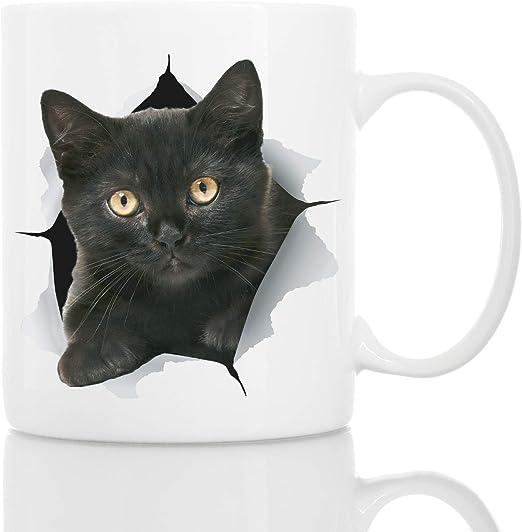 Taza de Gatito Negro Divertido - Taza Gatito Negro de Cerámica para Cafe - Regalo Perfecto sobre Gato Negro - Divertida y Bonita Taza de Café para Amantes de los Gatos: Amazon.es: Hogar