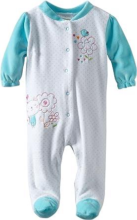 absorba Baby Girls Footie-Velour-Pockets