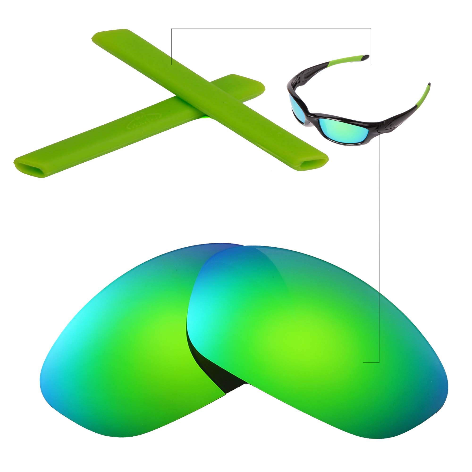 Walleva Polarized Replacement Lenses + Rubber For Oakley Straight Jacket - Multiple Options Available (Emerald Polarized Lenses + Green Rubber)