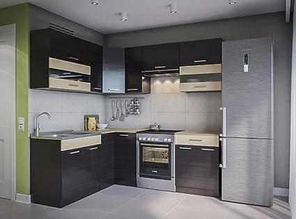 Eldorado de ángulo de Muebles Cocina Alina 210 x 170 wengué L Forma de Cocina línea Esquina Cocina Block: Amazon.es: Juguetes y juegos