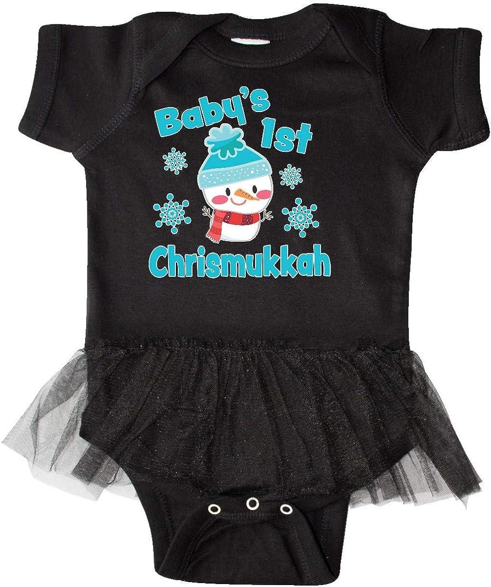 inktastic Babys 1st Chrismukkah with Cute Snowman and Infant Tutu Bodysuit