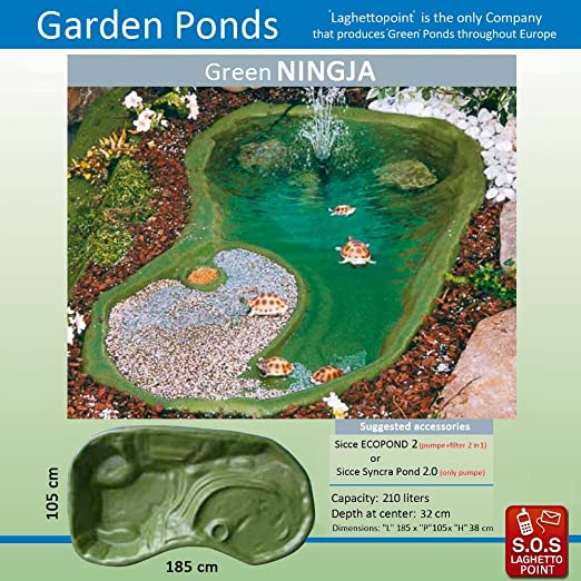 Laghetto Point Estanque Para Tortugas Ningja Verde - 185 x 110 x 32 cm - Capacidad 210 lt: Amazon.es: Jardín
