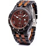 Bewell W109A Mens Wood Watches Two Tone Quartz Luminous Wristwatch with Date Display (Great Valentine's Gift)