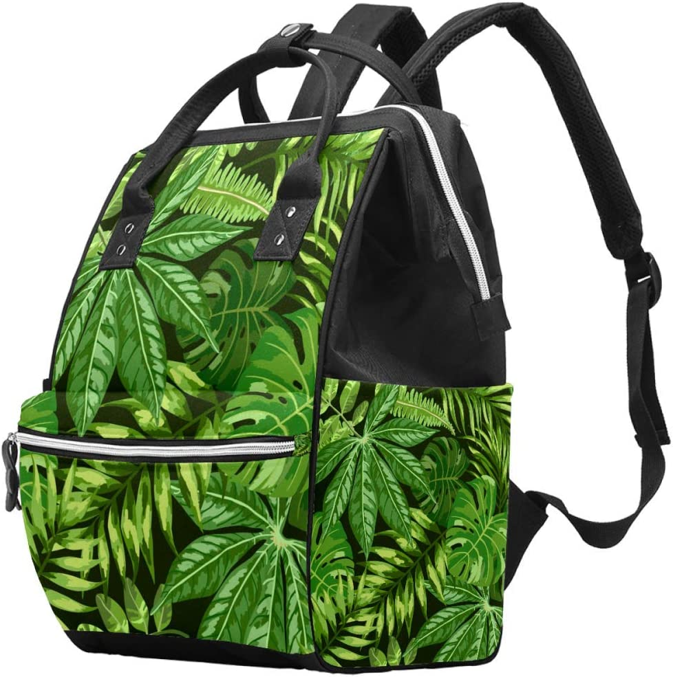 Bennigiry - Bolsa para pañales con diseño de hojas de marihuana y hojas de palma, gran capacidad para viaje, bolsa organizadora de pañales multifunción para mamá