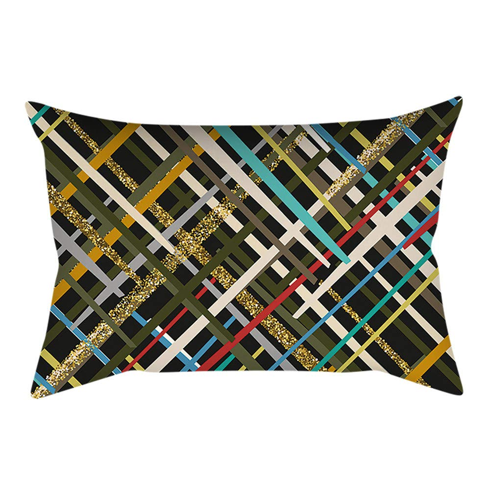 Pgojuni Rectangle Merry Christmas Pillow Case Sofa Waist Linen Blend Pillow Cover Cushion Cover Home Decor 1pc 30cmx50cm (I)