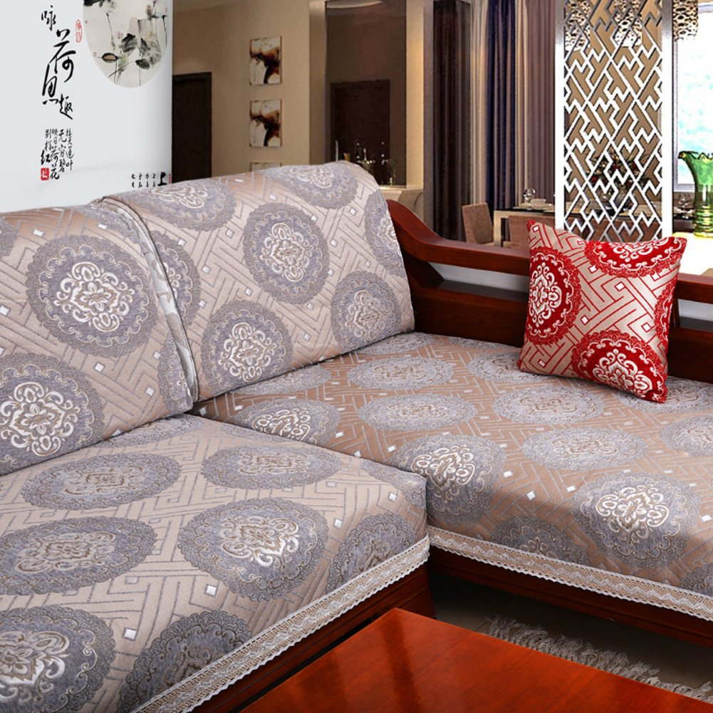 Chinese style sofa mat/jacquard sofa towel/pillowcases-gray 90x260cm(35x102inch)