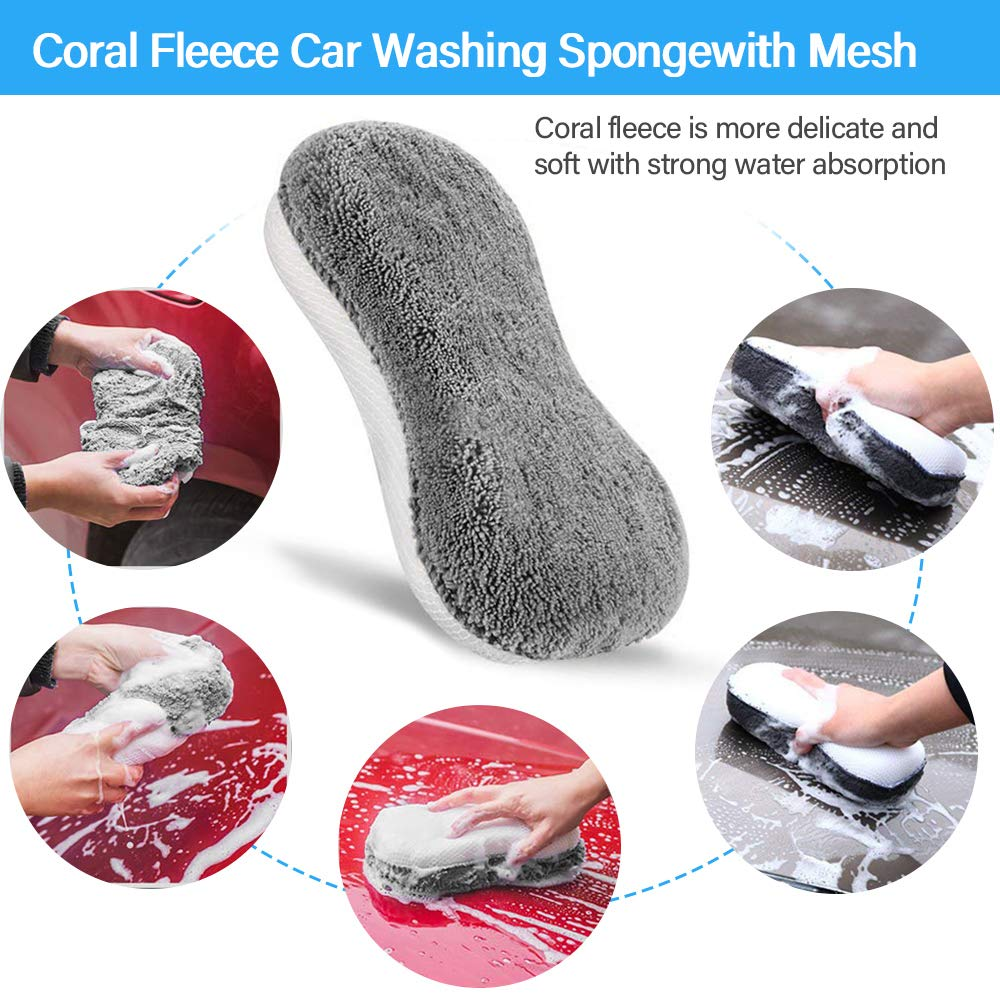 SaponinTree Car Wash Cleaning Tools Kit Leather Emblems Exterior Air Vents Interior Automotive Detail Brushes for Cleaning Wheels