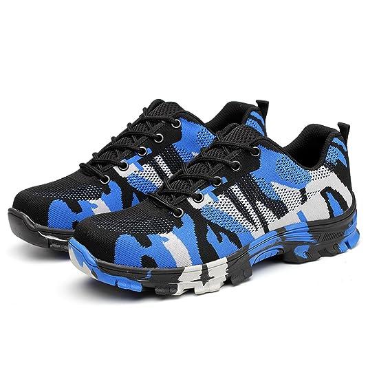 SUADEX Damen Herren Sicherheitsschuhe Sportlich Trekking Wanderhalbschuhe Stahlkappe Arbeitsschuhe Hiking Schuhe Traillaufschuhe, Blau, 42 EU