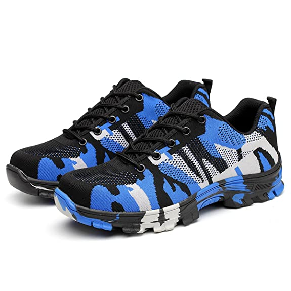 SUADEX Damen Herren Sicherheitsschuhe Sportlich Trekking Wanderhalbschuhe Stahlkappe Arbeitsschuhe Hiking Schuhe Traillaufschuhe, Blau, 35 EU
