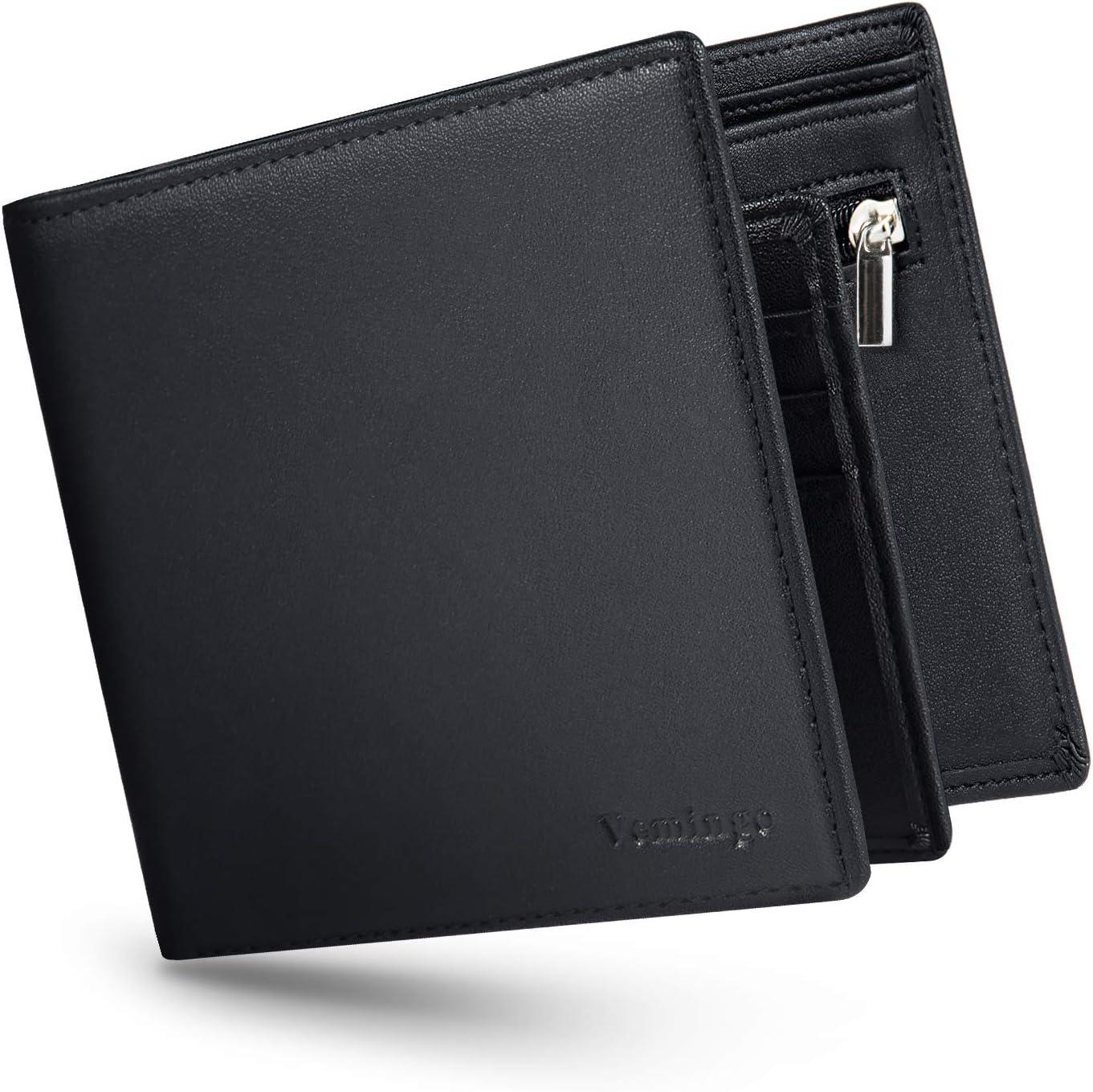 Vemingo Cartera para Hombre con Clip,Monedero con RFID Bloqueo para Tarjetas de Crédito Portamonedas Ligeros para Hombre/Adolescente (Xb-045 Negro)