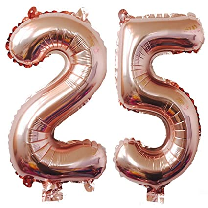 Amazon 40inch Rose Gold Foil 25 Helium Jumbo Digital Number